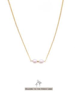 法米手工原創| 甜甜的笑sweet smile-天然珍珠小蝴蝶結造型 925銀鍍真金抗敏 短項鍊