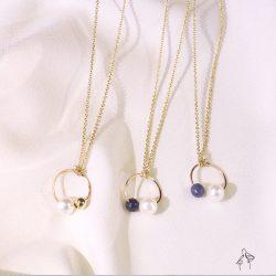 法米手工原創| 日子- 珍珠與天然石簡約環形 925銀鍍真金抗敏 項鍊