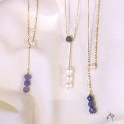 法米手工原創| 命運- 珍珠與天然石 925銀鍍真金抗敏 Y字項鍊