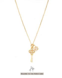 寶藏 Treasure-鑲鑽小鑰匙&寶物箱 925銀鍍真金抗敏 短項鍊