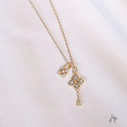 補貨中/ 寶藏 Treasure-鑲鑽小鑰匙&寶物箱 925銀鍍真金抗敏 短項鍊