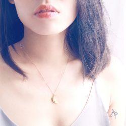德魯納 Del Luna- 光芒彎月 925銀鍍真金抗敏 短項鍊