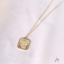 愛到未來 Love forever-浮雕玫瑰刻字 925銀鍍真金抗敏 胸口鍊