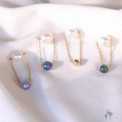 法米手工原創| 遇上的時候- 珍珠與天然石搭配垂墜耳環 925抗敏銀針 免費改夾 4款可選