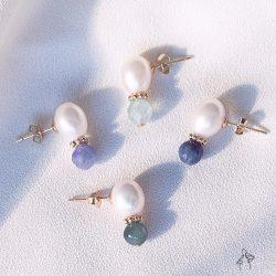 法米手工原創| 30+女子養成- 珍珠搭天然石耳環 925抗敏銀針 免費改夾 4款可選