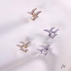 法米原創訂製| 思想的飛鳥 – 3燕同行耳環 925抗敏銀針 金銀兩色可選 免費改夾