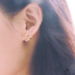 法米原創訂製| 思想的飛鳥 – 3燕同行耳環 925抗敏銀針 金銀兩色可選 免費改夾 – 金