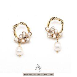 綻放的美 Beauty Blossom- 天然珍珠花圈造型 925抗敏銀針垂墜耳環 免費改夾