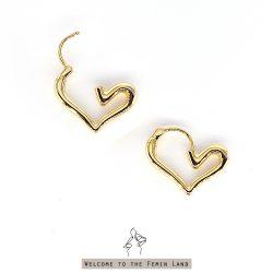 跳動 Beating- 歐美愛心圈 厚實黃銅鍍金耳環