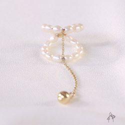 法米手工原創| 姊妹聚會的下午-雙圈珍珠編織 金珠長擺尾戒