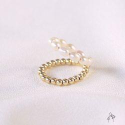 法米手工原創| 辦公室裡的生存條件-珍珠與金珠雙圈編織尾戒 日圍