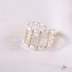 法米手工原創| 不是很好惹- 天然小珍珠編織輕龐克風格鍊條尾戒
