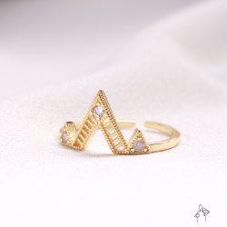 本月熱銷| 聖米歇爾山 Mont Saint-Michel-山峰綿延縷空鑲鑽 925純銀鍍真金抗敏 開口戒