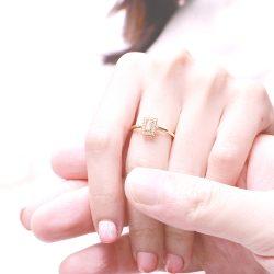 比利時公主- 復古公主方鑽 925純銀鍍真金抗敏 細開口戒