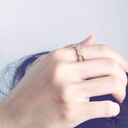 如意As Your Wish- 中國風如意結飾鑲鑽 925銀抗敏鍍真金 雙圈開口戒