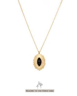 荷魯斯之眼 Eye of Horus- 黑瑪瑙光芒刻紋 925純銀抗敏鍍金 短項鍊