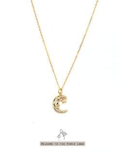 童話故事 Fairy Tale- 幾米風格月亮爺爺與星星  925純銀抗敏鍍金 短項鍊
