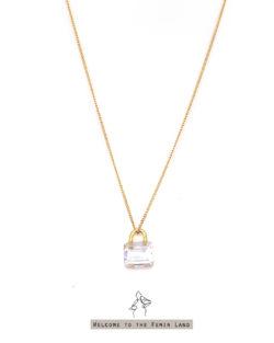 單純的慾望 Pure Lust- 透明仿寶石切割 提包造型 925銀鍍真金抗敏 短項鍊