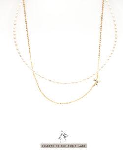 省330| 帶小公主去環遊- 天然小珍珠&飛鳥頸鍊 雙鍊組 925銀抗敏鍍真金
