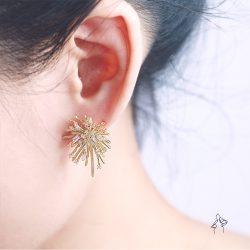 慶典Festival- 煙花炸開 末端鑲鑽耳環  925抗敏銀針免費改夾