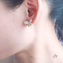 花精Flower elf- 花瓣蝴蝶滿鑽耳環 925抗敏銀針免費改夾