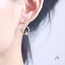 春遊Spring Trip- 雙蝶飛舞 鑲鑽垂墜耳環 925抗敏銀針免費改夾