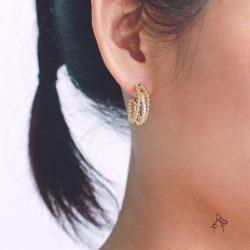 舞動Flow- 鑲鑽3圈環形耳環 925抗敏銀針免費改夾