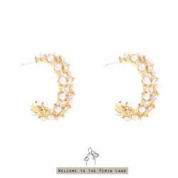豐收的季節Productive- 小珍珠與方鑽環形編織耳環 925抗敏銀針免費改夾