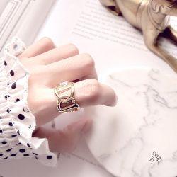 姊的指頭Beautiful fingers- 套圈 925銀抗敏鍍真金 大器開口戒