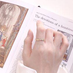 希臘女神Greek Goddess- 蕨類葉鑲小鑽 925銀抗敏鍍真金 開口戒
