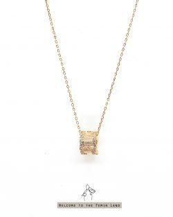 繁星stars- 不規則鋯石鑲嵌滾輪 925銀鍍真金抗敏 短項鍊