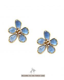 朵朵開can't stop smile- 藍色透明寶石 鑲鑽耳環 925抗敏銀針免費改夾