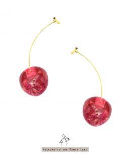 好心情good mood- 乾燥櫻花花瓣 透明櫻桃耳環