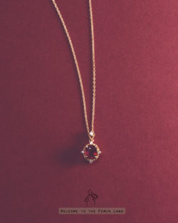 貴族血統noble blood- 復古宮廷仿紅寶石 925銀鍍真金抗敏 極細短項鍊