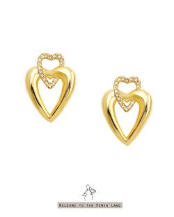 紅心皇后Queen of Hearts- 立體鑲鑽雙愛心 垂墜耳環 925抗敏銀針免費改夾