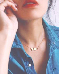 天作之合super match- 鎖匙短項鍊 925純銀抗敏鍍金