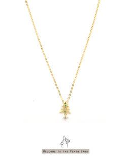 叮叮噹Christmas- 聖誕樹 極細短項鍊 925純銀抗敏鍍金