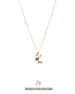 (玫瑰金) 歡樂的季節Happy Season- 可愛麋鹿 極細短項鍊 925純銀抗敏鍍金