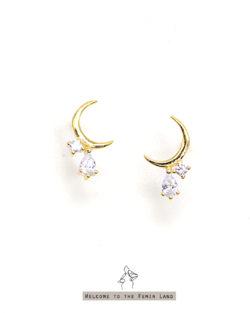 流淌Moon's Touch- 彎月小鑽耳環 全抗敏925銀 免費改夾