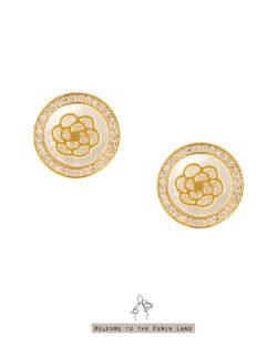 名媛Celebrity- 山茶花天然貝殼 貼耳耳環 925抗敏銀針免費改夾