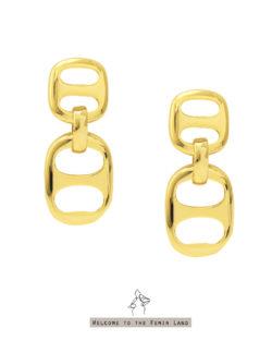 時尚控Fashionholic- 雙豬鼻子 垂墜耳環 925抗敏銀針免費改夾