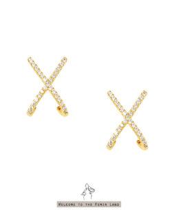 原則Principle- X形鑲鑽 貼耳耳環 925抗敏銀針