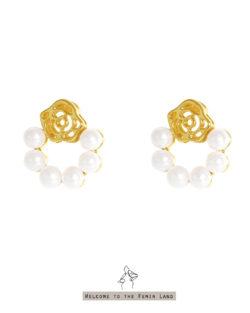花園入口to the Garden- 玫瑰珍珠圈貼耳耳環  925抗敏銀針免費改夾