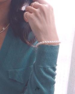 客訂| 期待lookforward- 5.5mm+4mm近圓珍珠 按壓扣整圈手鍊組