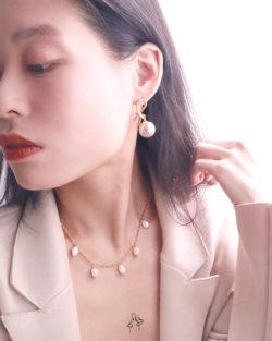 回到過去Go Back- 不規則珍珠 復古粗鍊 925純銀抗敏鍍金