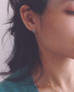 單純Childhood-澄澈藍鋯石耳環 全抗敏925銀 免費改夾