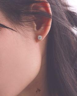 滿足Fulfill- 經典單鑽貼耳耳環 全抗敏925銀 免費改夾