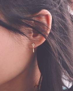 仕女Lady- 復古四鑽垂墜耳環 全抗敏925銀 免費改夾