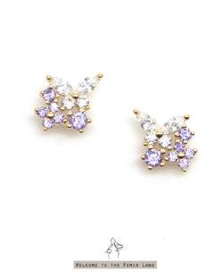 蝶戀Obsessed- 紫色小花蝴蝶鋯石耳環 全抗敏925銀 免費改夾