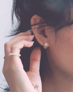 童年花Simple Flower- 可愛小花鑽貼耳耳環 全抗敏925銀 免費改夾